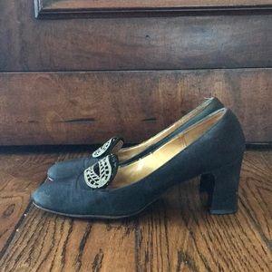 7a111bec8c07c Vintage Black Pilgrim Shoes with Silver Buckled